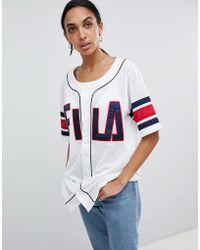 Fila - Oversized Baseball Jersey In Mesh - Lyst