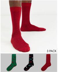 ASOS – Socken mit weihnachtlichem Glitzerballdesign im 3er-Set - Mehrfarbig