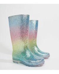 ASOS - Design Gransta Wide Fit Rainbow Glitter Gumboots - Lyst