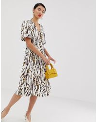 Lost Ink - Midi Dress With Structured Seams - Lyst