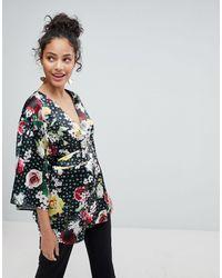 ASOS ASOS – Kimono-Wickleloberteil mit Blumendruck - Mehrfarbig