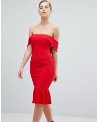 AX Paris - V Neck Pencil Dress With Pephem - Lyst