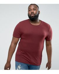 ASOS | Plus Muscle Fit T-shirt With Crew Neck And Stretch In Red | Lyst