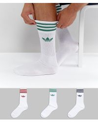 adidas Originals - 3 Pack Solid Crew Socks In White Ce4991 - Lyst