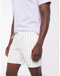 TOPMAN Striped Pull On Shorts - White