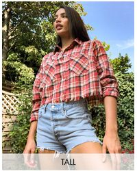 Missguided - Короткая Рубашка В Клетку -многоцветный - Lyst