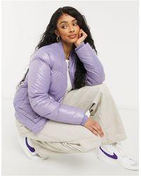 Threadbare Lacy Hi-shine Bomber Jacket-purple