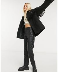 In The Style - Черная Куртка С Бахромой X Megan Mckenna-черный Цвет - Lyst