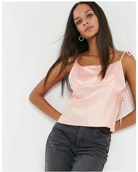 TOPSHOP Satin Bow Detail Cami - Pink