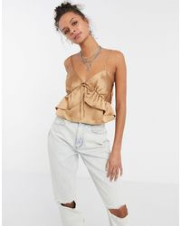 TOPSHOP Seam Detail Satin Cami Top - Metallic