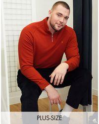 Farah Jim - Felpa con zip corta e logo rossa - Rosso