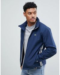 Lacoste - Zip Through Contrast Piping Jacket In Navy - Lyst