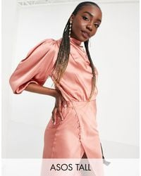 ASOS Asos Design Tall Pleat Cowl Neck Satin Midi Tea Dress With Puff Sleeve - Multicolour