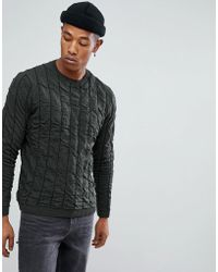 ASOS - Quilted Jumper In Khaki - Lyst