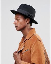 ASOS - Fedora Hat In Black Felt - Lyst