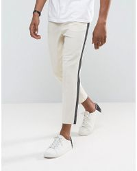ASOS - Tapered Smart Pants In Putty With Charcoal Side Stripe - Lyst