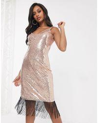 UNIQUE21 Sequin Slip Dress With Tassle Hem - Pink