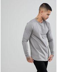 ASOS DESIGN - Asos Muscle Longline Sweatshirt With Side Zips & Curved Hem In Grey - Lyst