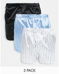 ASOS – 3er-Pack Boxershorts aus Satin mit Knopfverschluss - Blau