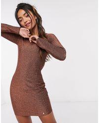 Superdry Блестящее Платье -медный - Коричневый