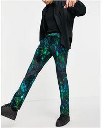 Twisted Tailor Pantalon Met Tropische Verenprint - Groen