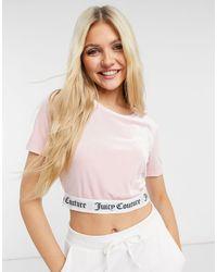 Juicy Couture Розовая Укороченная Футболка От Комплекта Для Дома С Логотипом По Нижнему Краю -розовый Цвет - Многоцветный