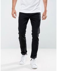 Solid - Slim Fit Jeans In Black With Stretch - Lyst