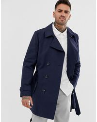 ASOS Shower Resistant Double Breasted Trench - Blue