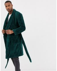 ASOS - Fluffy Dressing Gown In Emerald Green - Lyst