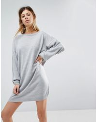 ASOS - Knitted Dress In Oversize With Crew Neck - Lyst