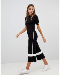 New Look - Side Stripe Knit Culotte Pant Co-ord - Lyst
