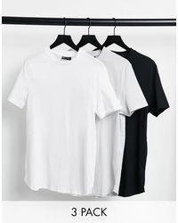 ASOS 3-pack Longline T-shirt With Side Splits - White