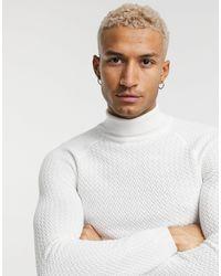 ASOS Maglione con collo alto attillato con impunture - Bianco