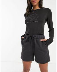 Lauren by Ralph Lauren Lounge Logo Long-sleeved Top - Black