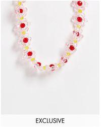 Pieces Эксклюзивное Розовое Ожерелье С Цветками Из Бисера -розовый Цвет