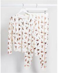 Chelsea Peers – Pyjama mit Flamingofoliendruck - Weiß