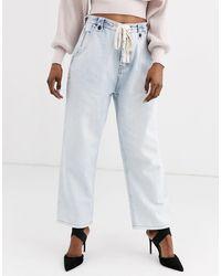 One Teaspoon Ruimvallende Verbleekte Jeans Met Strik Detail - Blauw
