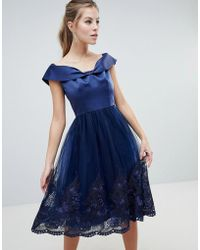 Chi Chi London Off Shoulder Midi Dress With Bow Front And Premium Lace Detail - Blue