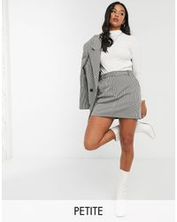 TOPSHOP Petite Mini Gingham Skirt - Grey