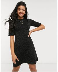 Oasis Intarsia Knitted Dress - Black