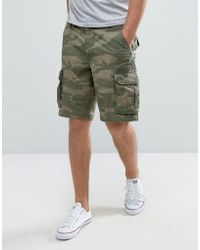 Hollister Cargo Shorts In Camo Print - Green