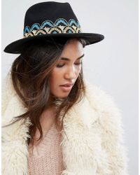Brixton - Fedora Hat With Embroidered Band - Lyst