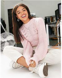 Miss Selfridge Jumper With Pointelle Stitch - Pink