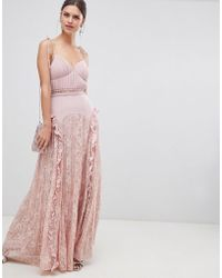 True Decadence - Cami Strap Maxi Dress With Lace Insert Skirt - Lyst