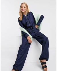 SELECTED Dana Denim Belted Jumpsuit-blue
