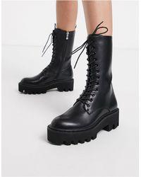 LAMODA Unforgiven High Military Calf Boots - Black
