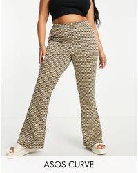 ASOS - Asos design curve - pantalon évasé en jacquard à rayures ondulées - Lyst