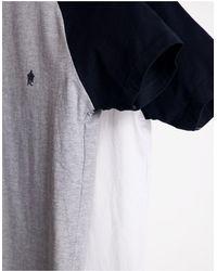 French Connection Confezione da 2 T-shirt raglan bianca/blu navy e grigio chiaro/blu navy