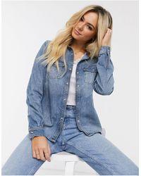 Superdry Camicia di jeans stile western con colletto a coste - Blu