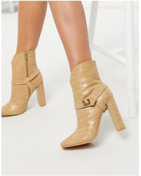 Glamorous Heeled Ankle Boots With Harness Detail - Natural